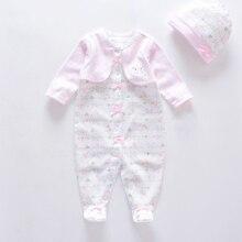 Roupas de bebe/Новинка, детский комбинезон+ шапочка, мягкий хлопковый комбинезон с длинными рукавами Одежда для новорожденных девочек одежда унисекс