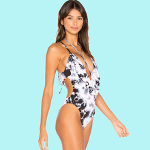 Flounce Frill Plunge V One piece Swimwear Floral Print Criss Cross Lace up String Ruffle High Cut Backless Swimsuit Dye White