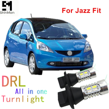 Molls led  DRL Daytime Running Light& Front Turn Signals all in one WY21W 7440 T20 car led light fit for Honda Jazz fit osmrk led drl daytime running light for honda crv 2015 2016 wireless switch yellow turn signals dimmer function