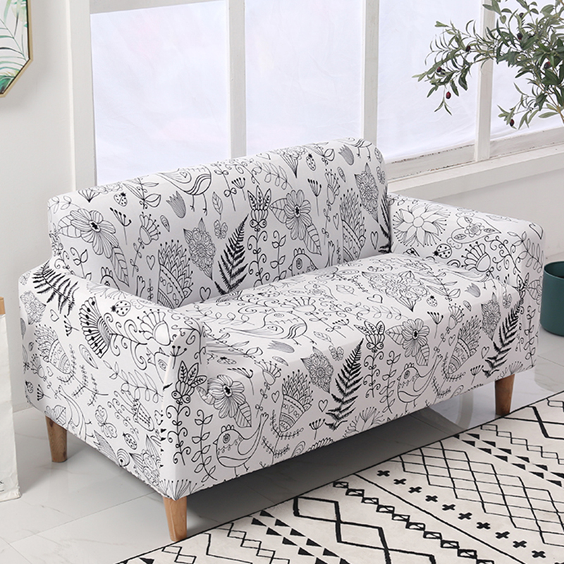 Lellen White Flower Sofa Cover Printed Couch Cover