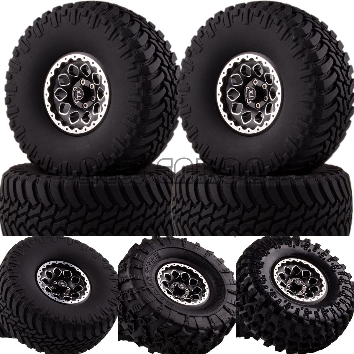 NEW ENRON 1:10 SET 2.2 Beadlock Wheels & Tires 2021 FOR 1/10 Crawler AXIAL Traxxas Tamiya HPI mxfans rc 1 10 2 2 crawler car inflatable tires black alloy beadlock pack of 4