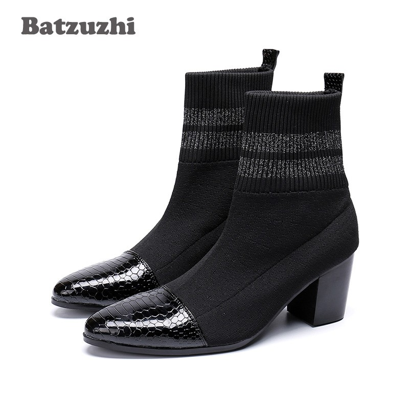 3f416e494ca Batzuzhi Italian Type Boots Men Pointed Toe Black Fashion Short Boots for  Men 7cm High Heels Party, Motorcycle boots Men Botas