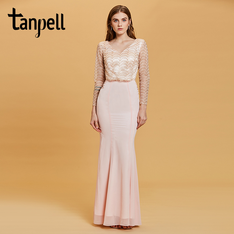 Tanpell lace v neck evening dress pearl pink full sleeves floor length chiffon gown women formal long mermaid evening dresses