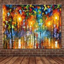 Большая Ручная роспись влюбленный дождь уличный светильник деревья