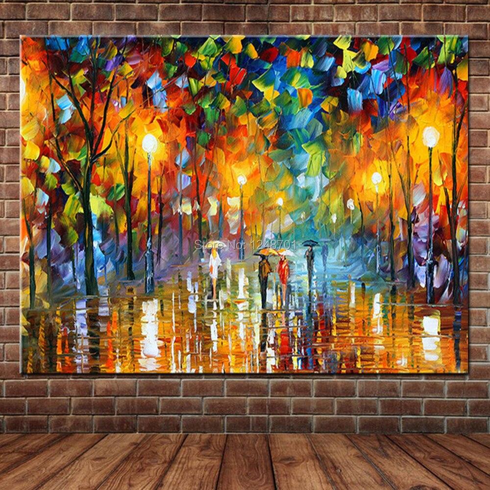Velké ručně malované milence déšť ulice strom lampa krajina olejomalba na plátně zdi umění nástěnné obrázky pro obývací pokoj domácí výzdoba