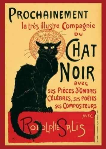 LE CHAT NOIR RODOLPHE SALIS TOUR GIANT  FRENCH CAT SILK POSTER Decorative painting 24X36INCH