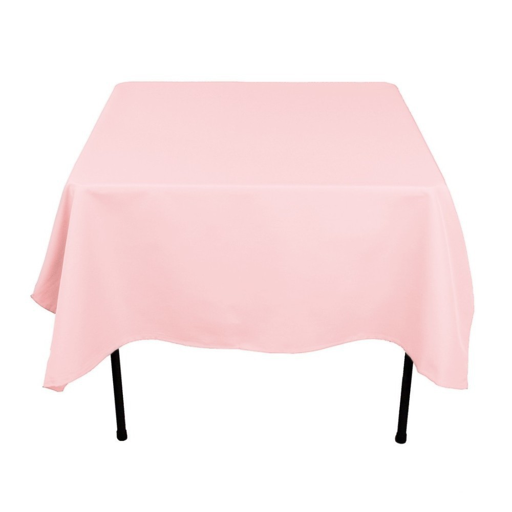 HK DHL Stain Feel 70 inch/180cm Polyester Square Tablecloth PINK for Wedding, 5/Pack