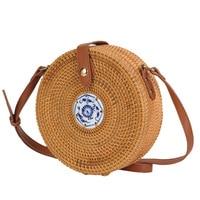 Vietnamese rattan bag straight edge porcelain embellishment Messenger bag blue flower inner pocket adjustable shoulder strap