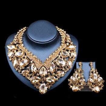 Lan дворец бижутерия ожерелье наборы шесть цветов цвет золотистый австрийского хрусталя ожерелье и серьги для свадьбы Бесплатная доставка