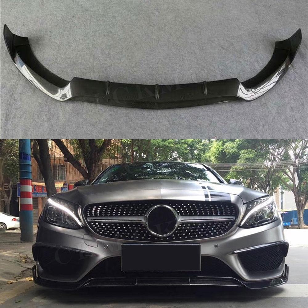 C Class Carbon Fiber Front Bumper Lip Spoiler For Mercedes Benz W205 C63 AMG C180 C200 C260 Sport Bumper 15-19 Car Styling