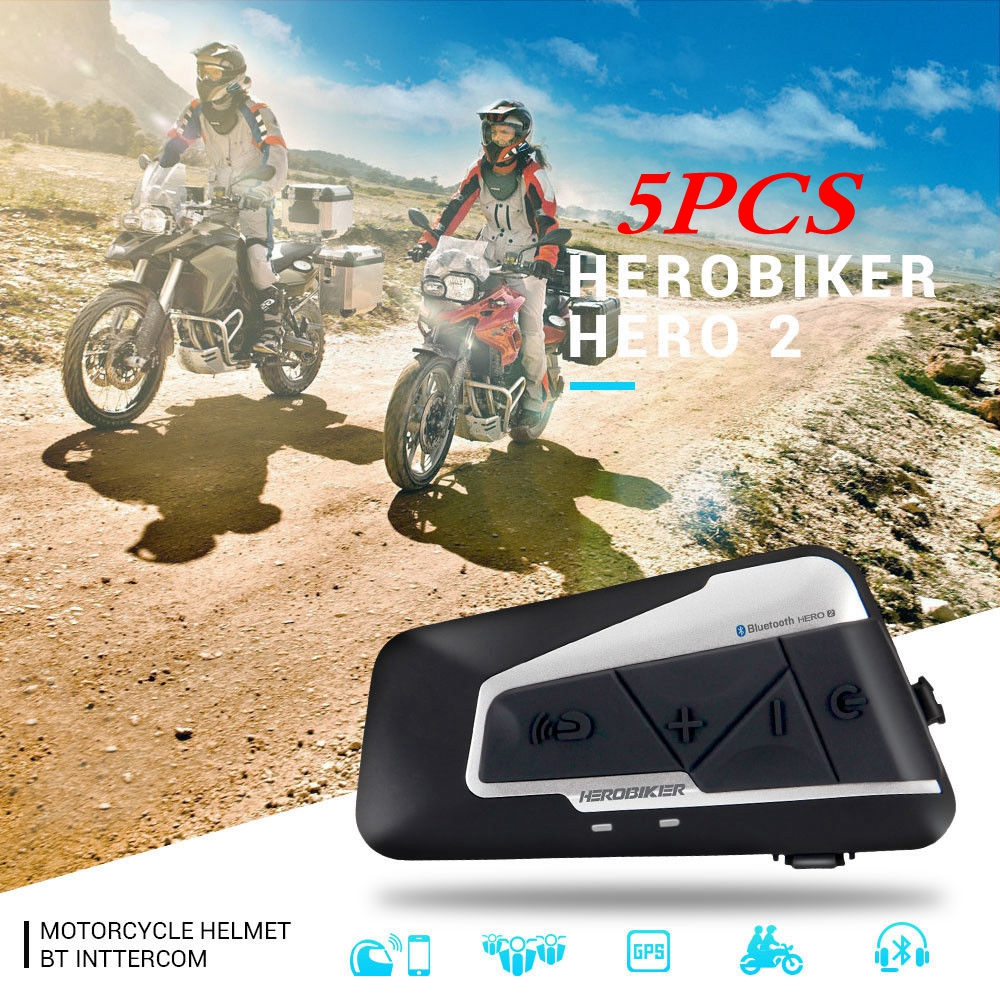 Free Shipping 5pcs/set 1200M Motorcycle Bluetooth Helmet Intercom BT Wireless Waterproof Interphone Motorcycle Helmet Headset