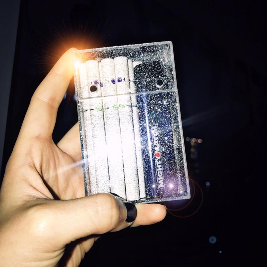 Christmas Gift Fashion Female Fine Smoke Cigarette Case Storage Box With Glitter Ultra-thin Customized Plastic 20 Sticks Package