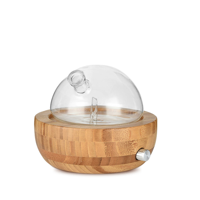 Bamboo Glass Essential Oil Nebulizer Aromatherapy Diffuser Humidifier Low Noise Mist Control Timer Control Humidifiers EU Plug