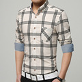 Бренд-clothing Рубашки Мужчины Плед Рубашки Camisa Masculina Длинным Рукавом Хлопок Повседневная Рубашка Рабочая Одежда Плюс Размер Новая 2017