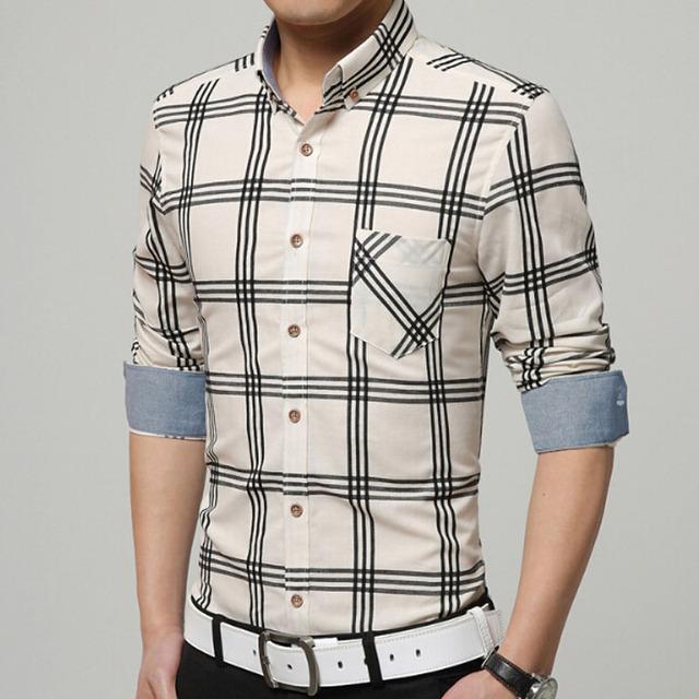 Marca-clothing hombres camisa camisas a cuadros camisa masculina informal de algodón de manga larga camisa de vestir ropa de trabajo más el tamaño nuevo 2017
