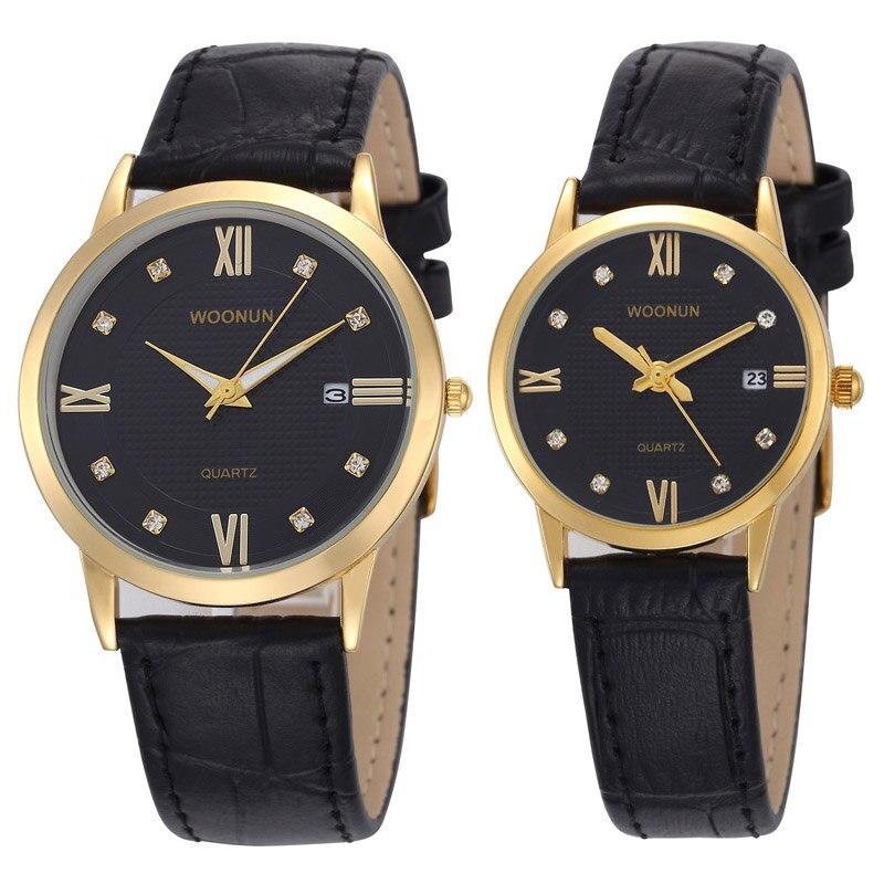 WOONUN Top Brand Luxury Couple Watches Lovers Watch Fashion Casual Women Men Quartz Wristwatch Leather Strap Best Gifts