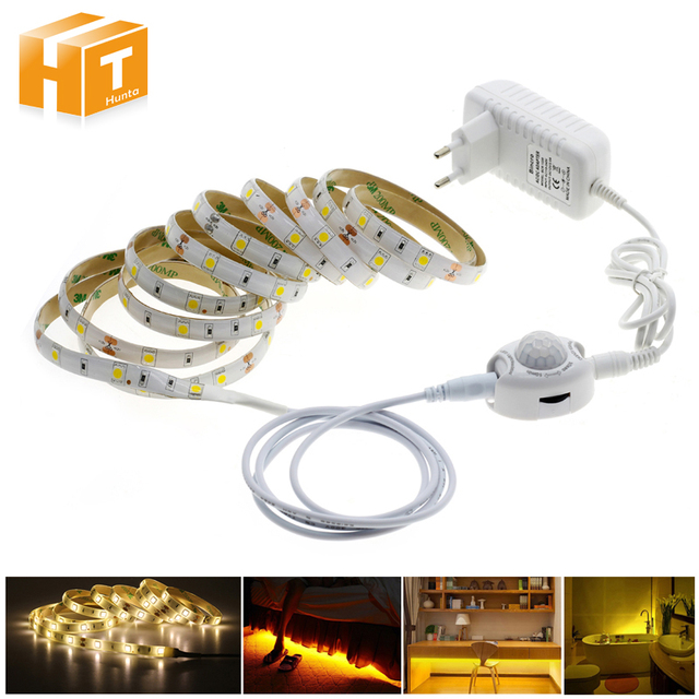 Pir Motion Sensor LED Strip 5050 Waterproof 30LEDs/m Warm White  + Intelligent  Sensor Light Control Bedroom Night Light
