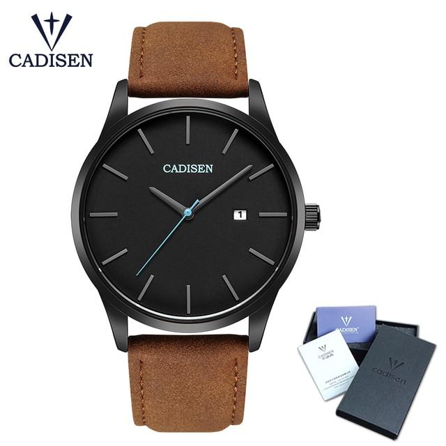 ساعة يد بنمط عسكري من العلامة التجارية CADISEN للرجال من الفولاذ المقاوم للصدأ ساعة يد كوارتز للأعمال الشهيرة مقاومة للماء