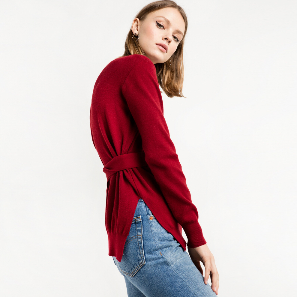 Aliexpress.com : Buy Burgundy long sleeve O neck belted sweaters ...