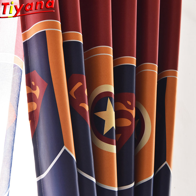The Avengers Captain America Shield Curtains  Super Hero Curtain Tulle for Boys Bedroom Living Room Cartoon Curtains WP280#30|Curtains| |  - title=