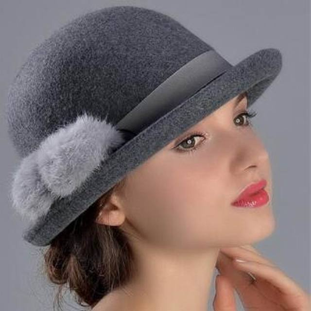 da944ea87c4 100% Wool hat Autumn Winter Noble European American Elegant Girls Fashion  Cap Ladies Bucket Hat Women Wool Fedora Hat