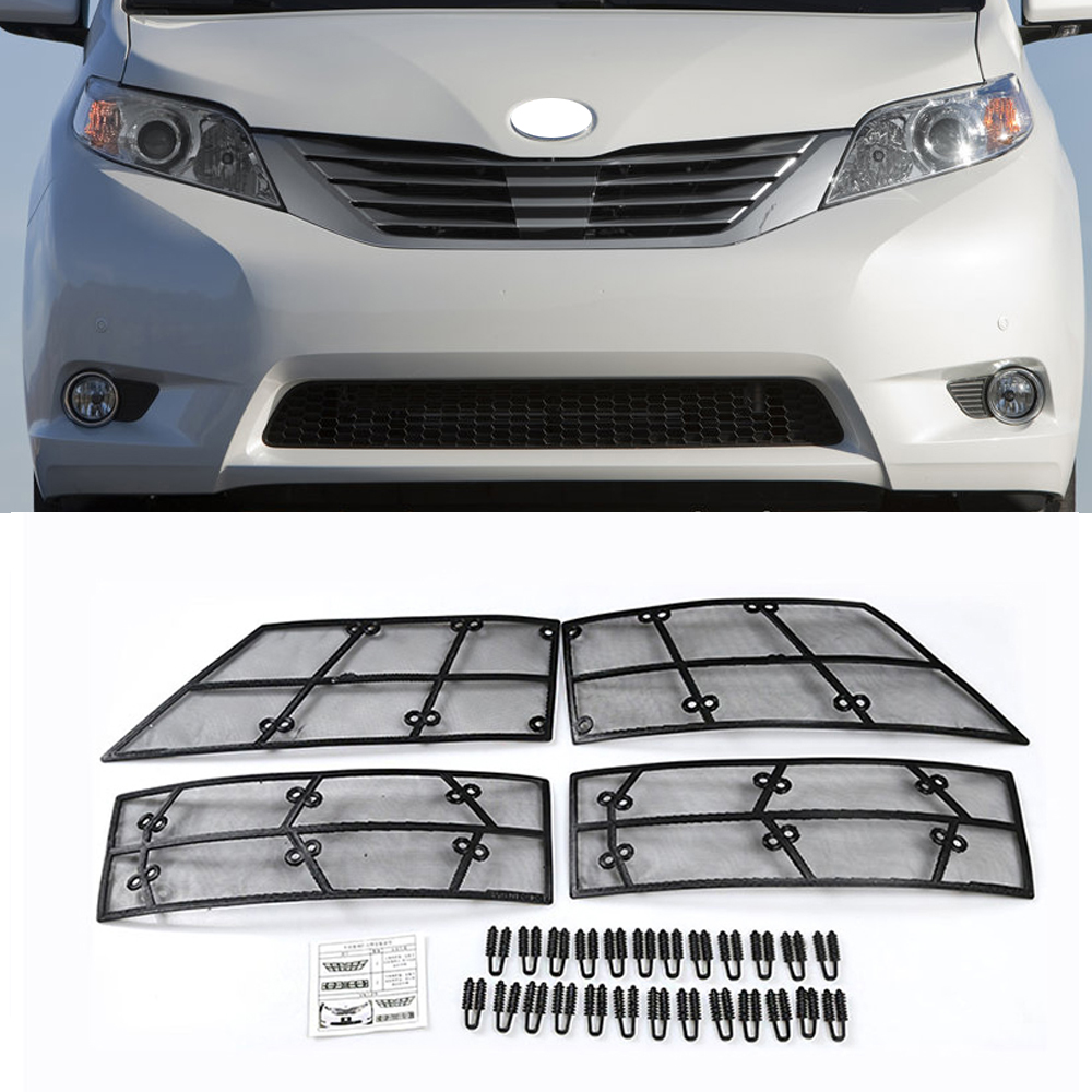 Car STAINLESS STEEL Front Grill Guard Grille Insect Screen For Toyota Sienna 2011 2012 2013 2014 2015 2016 2017 Accessories car styling 1pcs stainless steel chrome front grille front and rear decorative fine barbecue season 2012 2013 for toyota camry