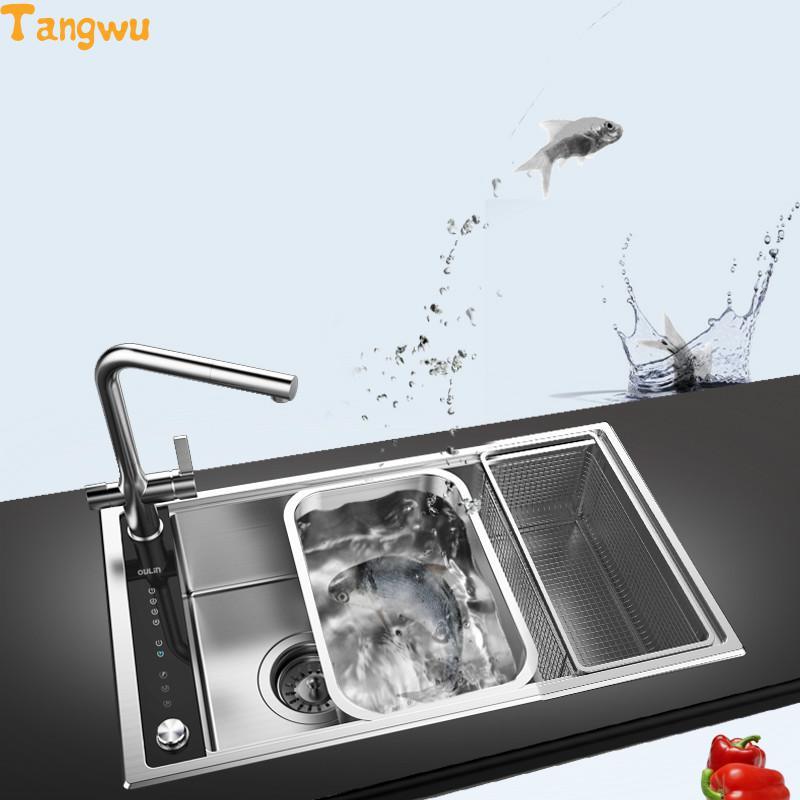 Free shipping stainless steel sink single slot single tank kitchen + intelligent Water purifier