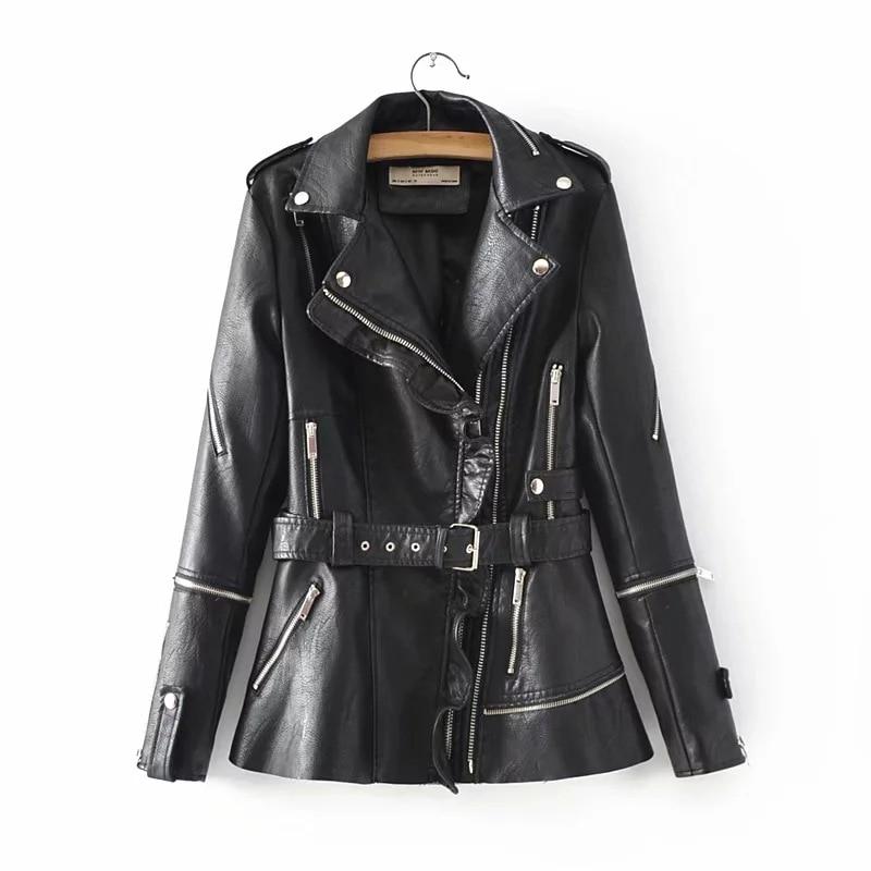 SWYIVY Woman Coat Faux   Leather   Jacket Mid Long 2018 Autumn New Lady Fashion Jacket Jackets With Belt Slim Elegant Woman Coats
