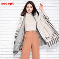 zocept 2016 New Fashion Women's Cashmere Blend Loose Poncho Scarves Female Autumn Winter Warm Knitted Striped Shawl Brand Design