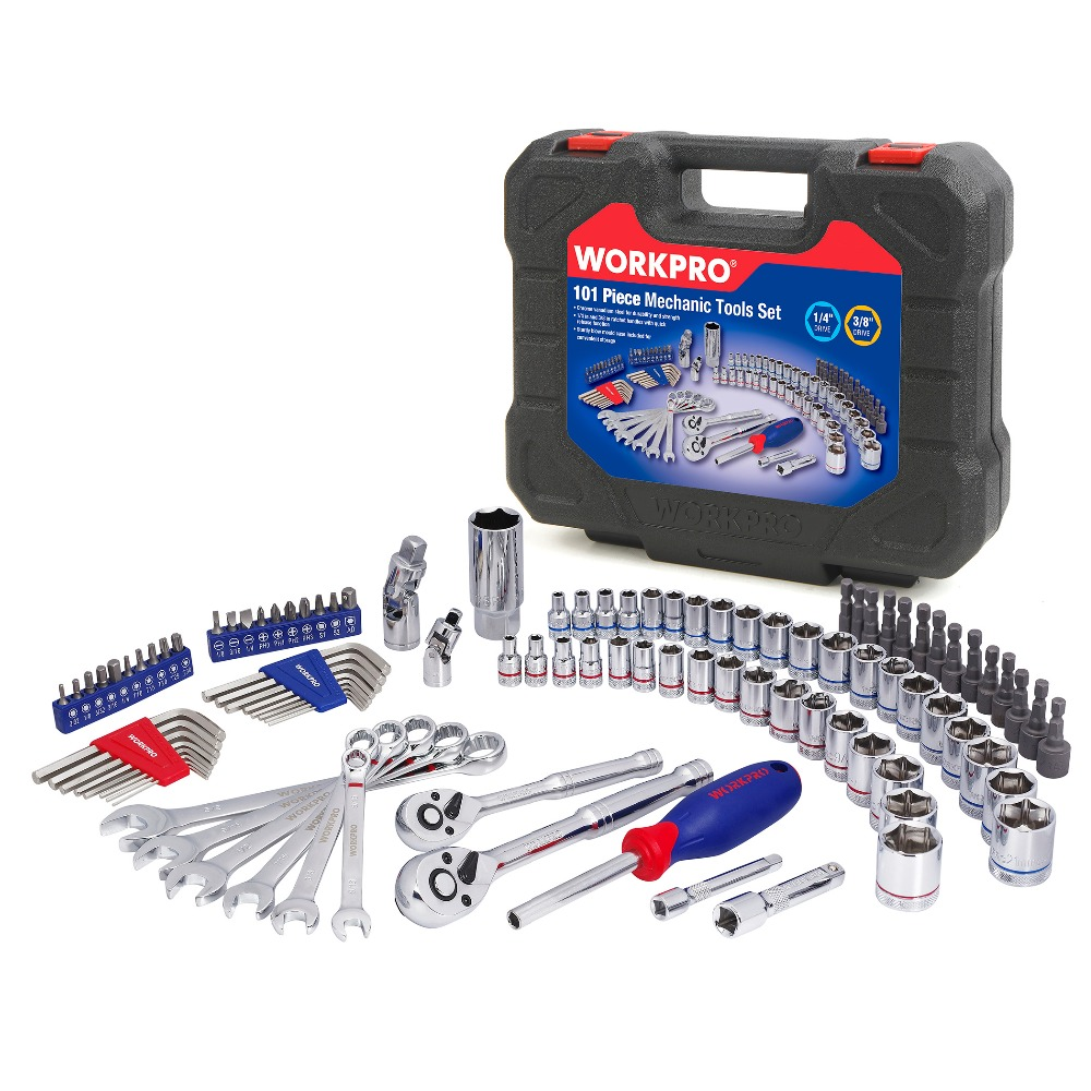 WORKPRO 101 шт. набор инструментов домашние Инструменты для ремонта автомобилей разъемы для инструментов набор гаечные ключи с задерживающими храповиками гаечные ключи - 2