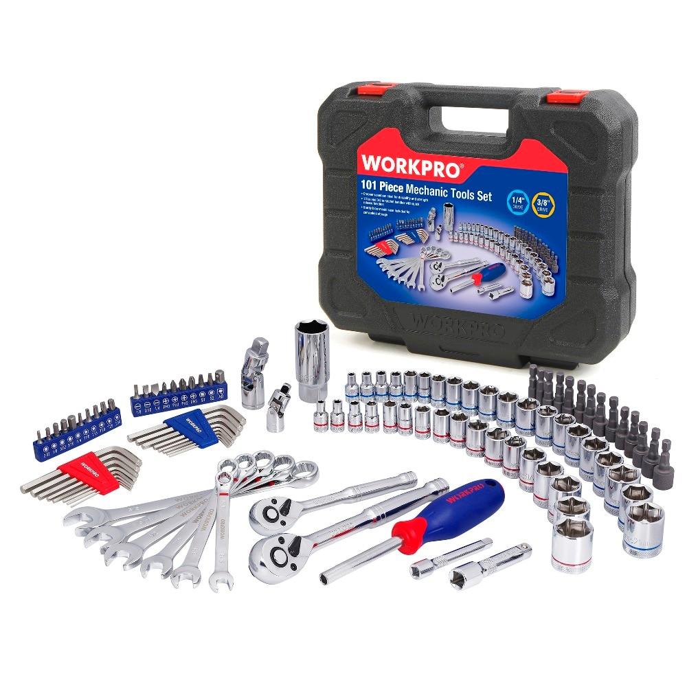 WORKPRO 101PC Mechanics Tool Set Car Repair Tool Sets Socket  Wrenches Screwdrivers Ratchet Combination Tool Kit