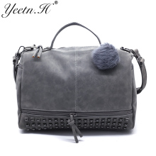 Yeetn.H  Nubuck Leather Women Messenger Bag Large Capacity Rivet Vintage Female Top-Handle Bags Handbag Shoulder Bag  M1668