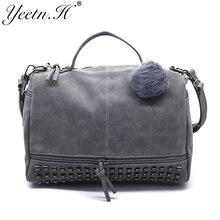 Yeetn.H  Nubuck Leather Women Messenger Bag Large Capacity Rivet Vintage Female Top-Handle Bags Handbag Shoulder Bag  M1668