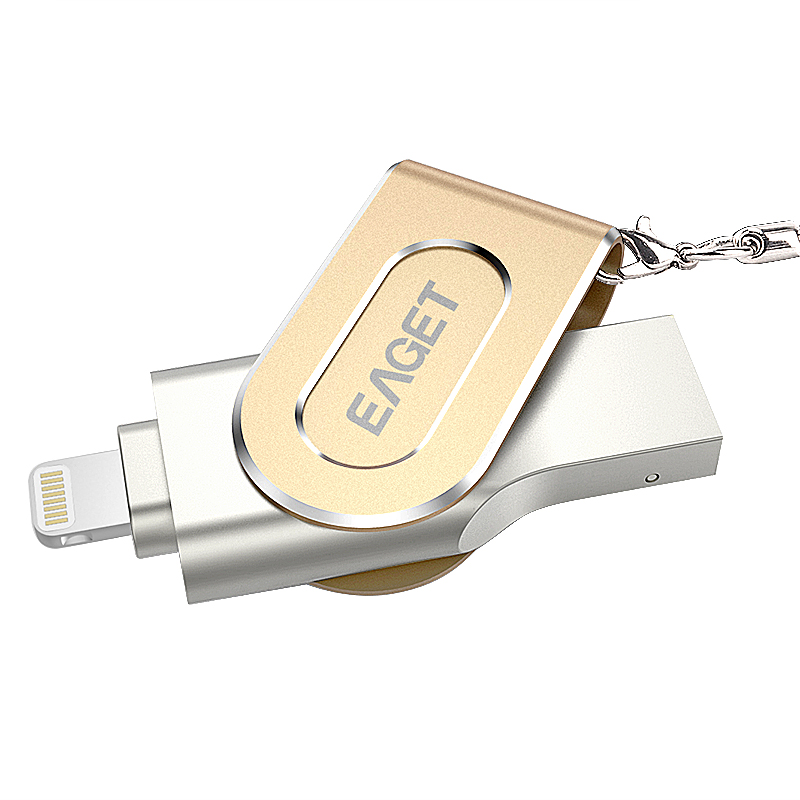 EAGET I80 For iPhone OTG USB 3.0 Flash Drives 100% 128GB Capacity Expansion For iPhone/iPad/iPod,Micro Pen Drive For PC/MAC