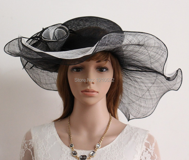 new kentucky derby eglise cocktail de mariage large bord sinamay robe chapeau 1765 noir blanc. Black Bedroom Furniture Sets. Home Design Ideas
