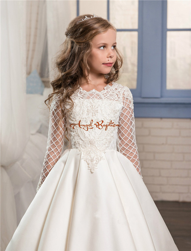 1346dc1163 2019 New Princess white ball gown flower girl dresses appliqued satin with  tulle long sleeves backless kids first communion gown - aliexpress.com -  imall. ...