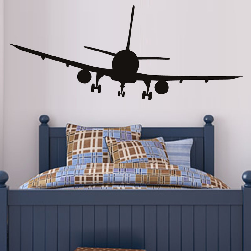 New Vinyl Removable Commercial Airliner Wall Decal Home Decor Airplane Silhouette Wall Stickers For Bedroom Ht3346