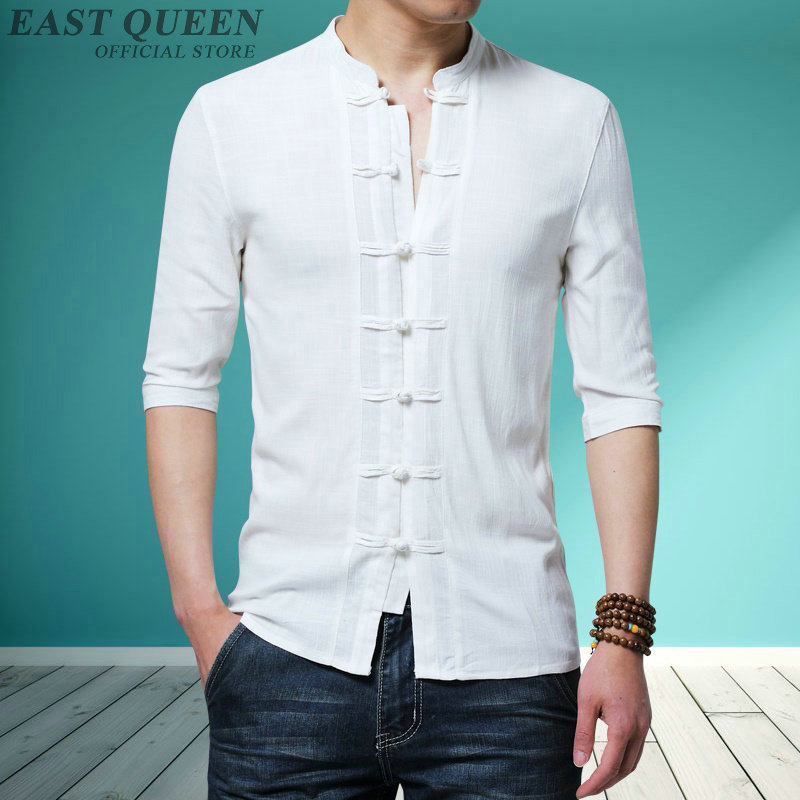 Traditional Chinese Clothing For Male Chinese Mandarin Jacket Cotton Linen Shirt Shanghai Tang Tops Oriental Clothes Men KK2860