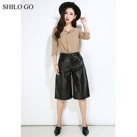 SHILO IR Calças De Couro Das Mulheres Da Moda Outono pele de carneiro genuína Calças De Couro preto calças de cintura alta perna larga Calças meia
