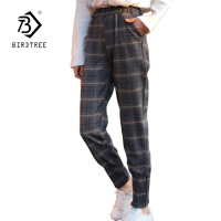 Women S Casual Classical Plaid Mid Waist Harem Pants 2018 Summer New Arrival Preppy Style Loose
