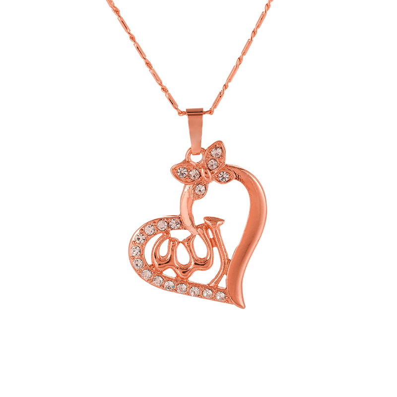 Wukaka Crystal Heart Islam Religion Middle Eastern Muslim Pendant Necklace Women Gold/Silver Necklaces Man Jewelry Accessories