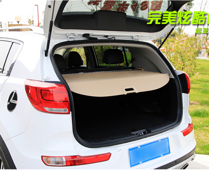 Car Rear Trunk Security Shield Shade Cargo Cover For KIA SPORTAGE R 2010 2011 2012 2013 2014 2015 (Black, beige) car rear trunk security shield shade cargo cover for honda fit jazz 2004 2005 2006 2007 black beige