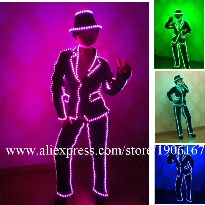 Prestazioni barra LED Luminosi Vestiti Sexy Discoteca Cosplay Costume Led MJ Stile Tuta Può cambiare 7 Colori Per Le Donne Danza usura