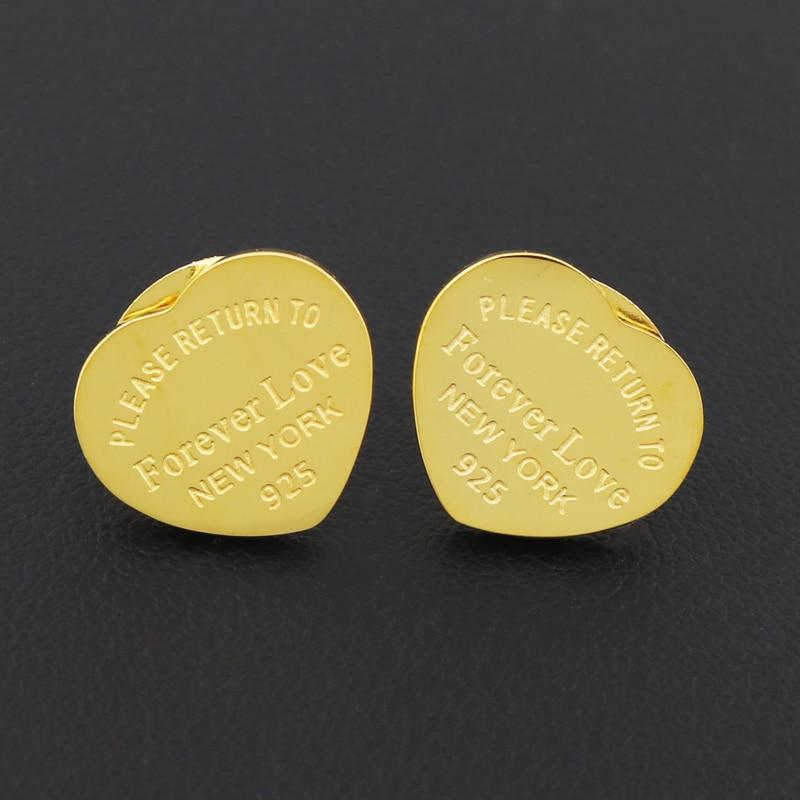 Fine Jewelry Heart Forever Love Earring Gold Women Charm Earring pulseiras Fashion Earrings For Eternal Love Woman