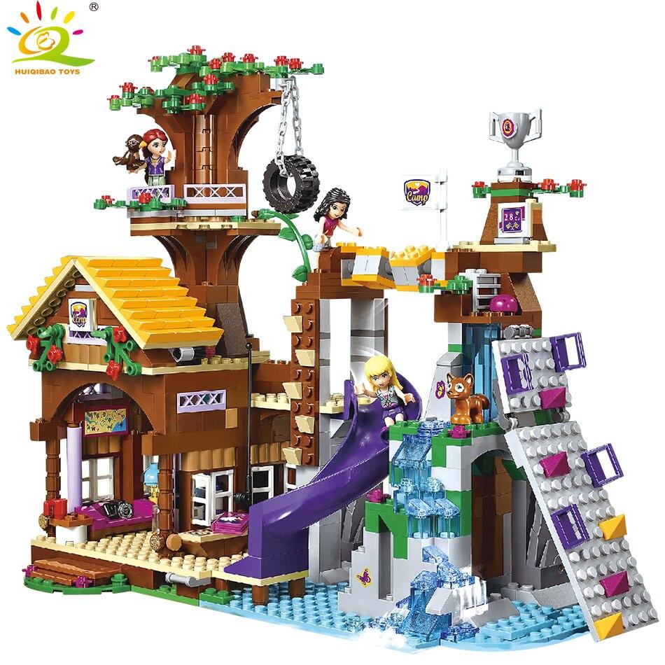 875 piezas amigos campamento de aventura casa del árbol edificio bloques Compatible Legoing chica de ciudad figura ladrillos juguetes educativos para los niños