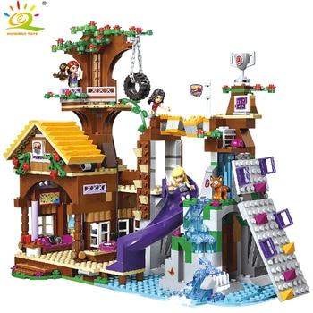 HUIQIBAO 739 шт, друг, приключения, лагерь, дерево, дом, строительные блоки, совместимый город, девочка, фигура, кирпичи, обучающая игрушка для детей