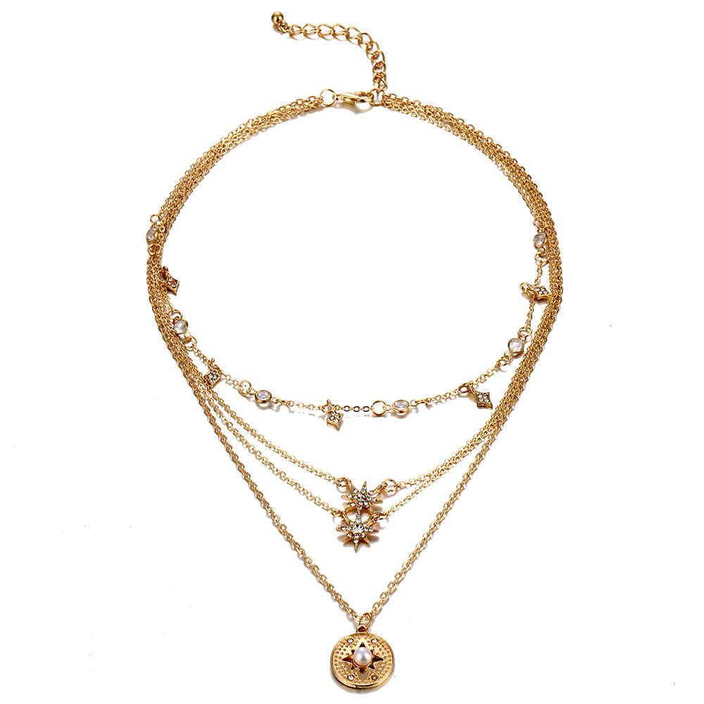 Женское винтажное ожерелье с кулоном в виде монетки, звезды, 2019, богемное многослойное Золотое серебряное многослойное ожерелье-чокер с Луной, подарок на вечеринку
