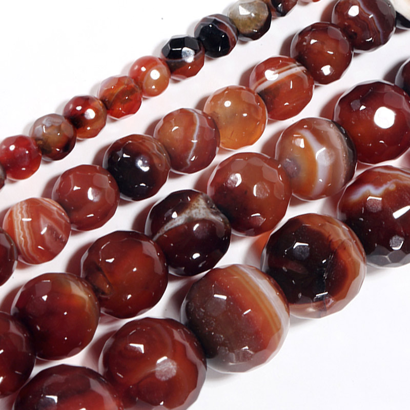 """Natural Red Stripe Red Brown Botswana Agate Onyx Stone Beads Jewelry Making 15/"""""""