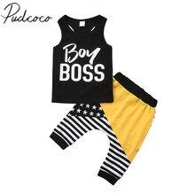 2018 Brand New Newborn Infant Baby Boys Summer Clothes 2PCS Sleeveless Letter Bl