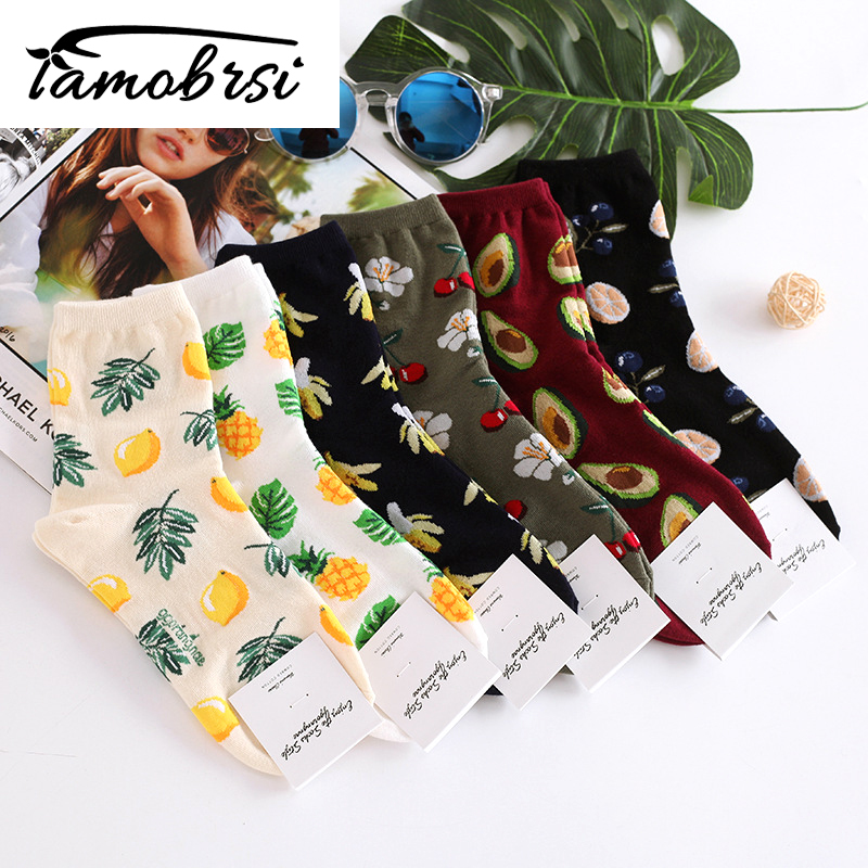 Avocado Korean Fresh Fruits Socks Lemon Pineapple Cherry Blueberry Banana Happy Cute Socks Women Cotton Short Funny Socks Ankle